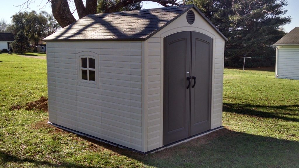 Shed Kit installed on poured Concrete Pad