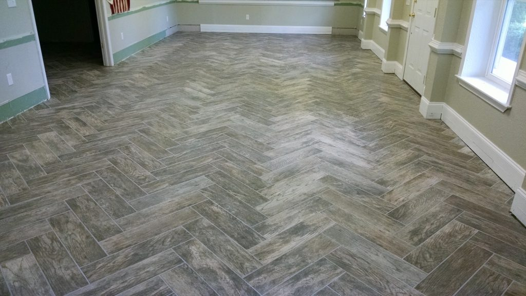 Porcelain Tile laid in a Herringbone pattern